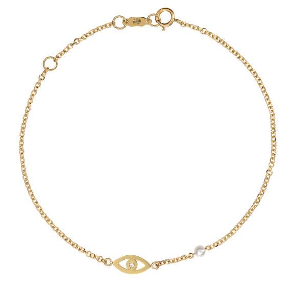 Βραχιόλι Αλυσίδα Ματάκι Χρυσό Με Ζιργκόν Και Μαργαριταράκι 003243 Jewelor