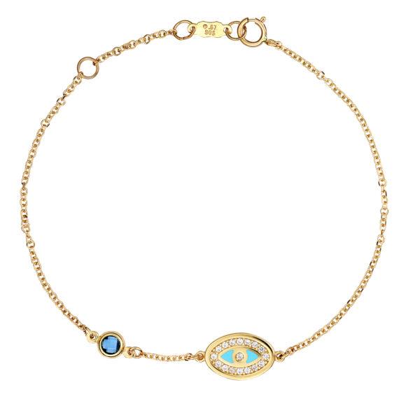 Βραχιόλι Αλυσίδα Ματάκι Χρυσό Με Ζιργκόν Και Σμάλτο 003241 Jewelor