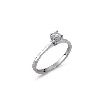Δαχτυλίδι Μονόπετρο Λευκόχρυσο Με Διαμάντι 18Κ