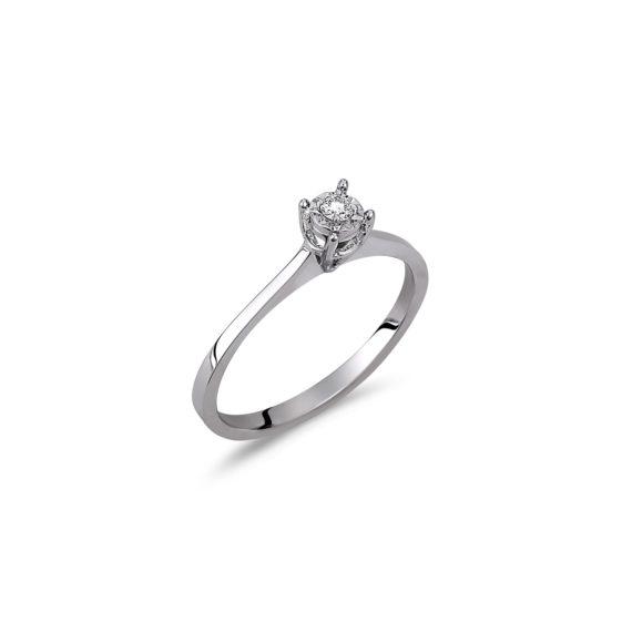 Δαχτυλίδι Μονόπετρο Λευκόχρυσο Με Διαμάντι 18Κ 003306 Jewelor