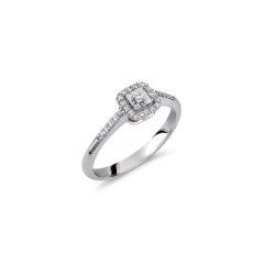 Δαχτυλίδι Μονόπετρο Λευκόχρυσο Μισόβερο Με Διαμάντι Και Ζιργκόν 18Κ
