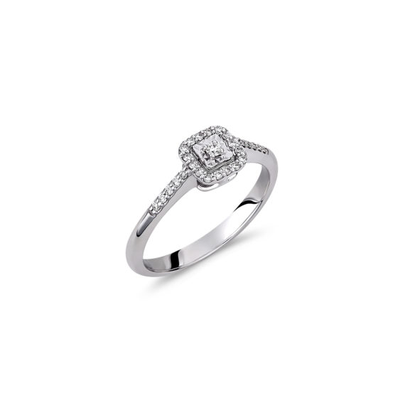 Δαχτυλίδι Μονόπετρο Λευκόχρυσο Μισόβερο Με Διαμάντι Και Ζιργκόν 18Κ 003308 Jewelor