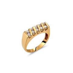 Δαχτυλίδι Μοντέρνο Μισόβερο Χρυσό Με Ζιργκόν 14Κ