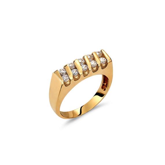 Δαχτυλίδι Μοντέρνο Μισόβερο Χρυσό Με Ζιργκόν 14Κ 003305 Jewelor