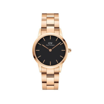 Daniel Wellington Iconic Link Black/Rose Gold Women's Watch DW00100214