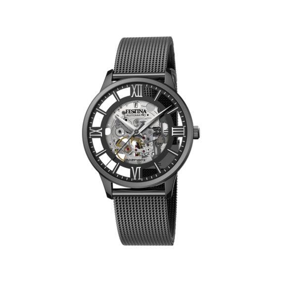 Festina Skeleton Gunmetal Automatic Men's' Watch F20535 1 Jewelor