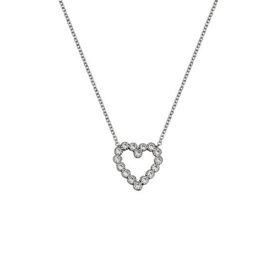 Κρεμαστό Καρδούλα Λευκόχρυσο Ζιργκόν Σε Όλο Το Μήκος 003275 Jewelor