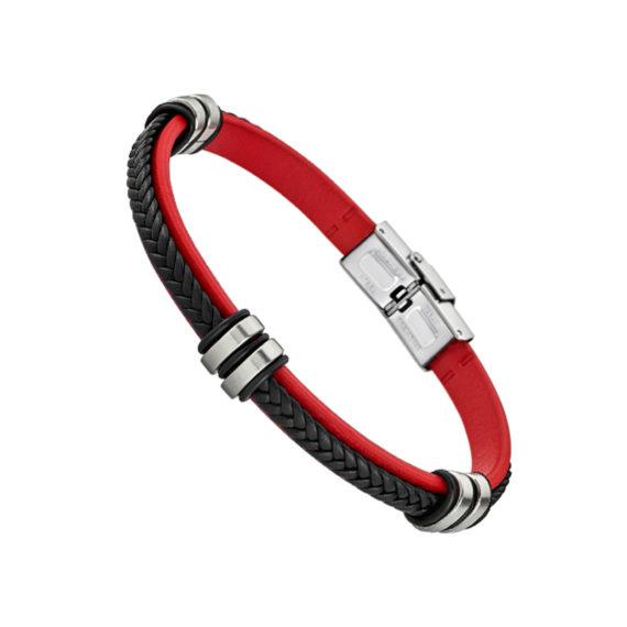LS1829 2 3 Βραχιόλι Lotus Style Κόκκινο Ατσάλι Και Δέρμα Jewelor