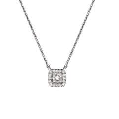 Μενταγιόν Τετράγωνο Λευκόχρυσο Ντυμένο Με Διαμάντι Και Ζιργκόν 18Κ