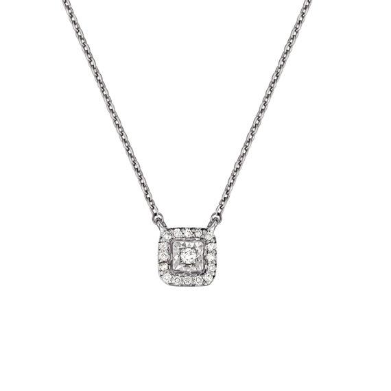 Μενταγιόν Τετράγωνο Λευκόχρυσο Ντυμένο Με Διαμάντι Και Ζιργκόν 18Κ 003315 Jewelor