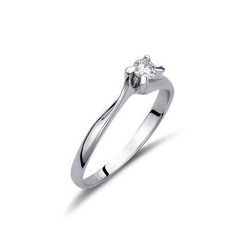 Μονόπετρο Δαχτυλίδι Λευκόχρυσο 18K Με Διαμάντι Μπριγιάν