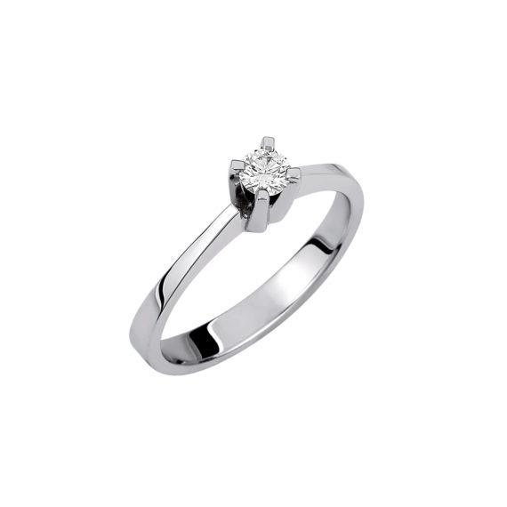 Μονόπετρο Δαχτυλίδι Λευκόχρυσο 18K Με Διαμάντι Μπριγιάν 003273 Jewelor