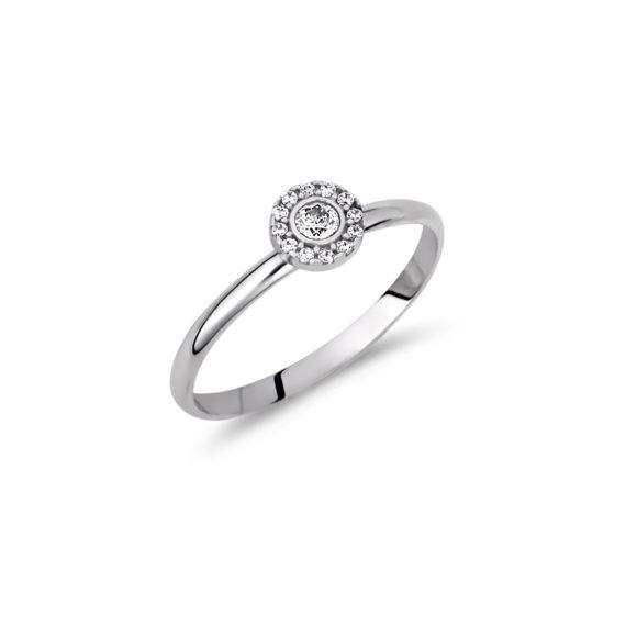 Μονόπετρο Λευκόχρυσο Με Ζιργκόν 14Κ 003289 Jewelor
