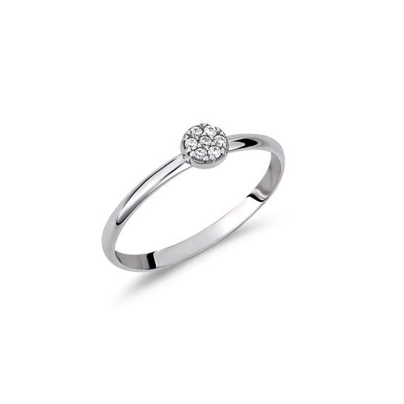 Μονόπετρο Πεταλούδα Λευκόχρυσο Με Ζιργκόν 14Κ 003290 Jewelor
