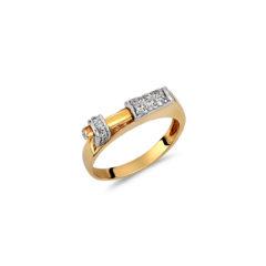 Μοντέρνο Δαχτυλίδι Σκαλιστό Δίχρωμος Χρυσός Με Ζιργκόν 14Κ