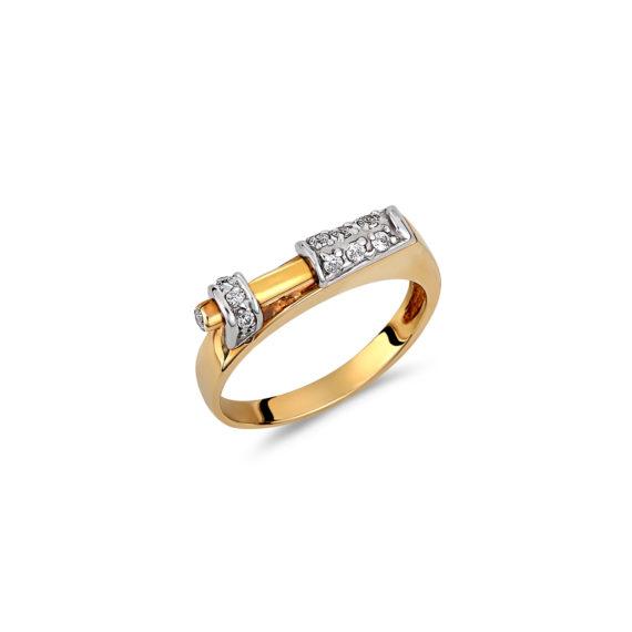 Μοντέρνο Δαχτυλίδι Σκαλιστό Δίχρωμος Χρυσός Με Ζιργκόν 14Κ 003307 Jewelor
