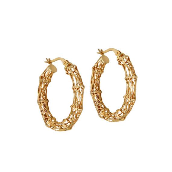 Πλεκτά Σφυρήλατα Σκουλαρίκια Χρυσά 14Κ 003309 Jewelor