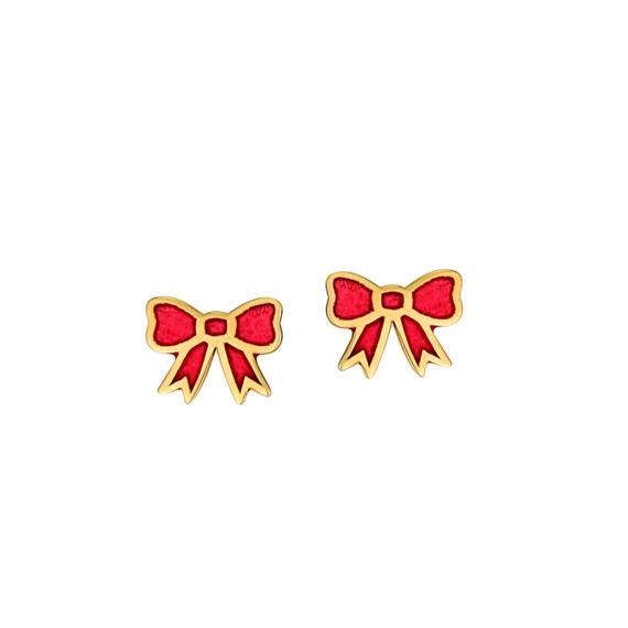 Σκουλαρίκια Φιογκάκια Χρυσά Με Σμάλτο 14Κ 003280 Jewelor