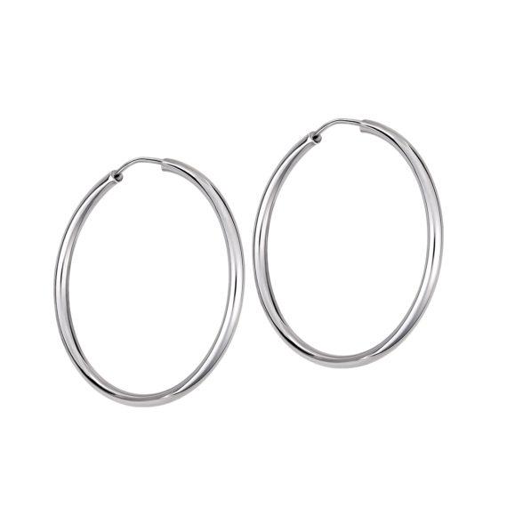 Σκουλαρίκια Κρίκοι Λευκόχρυσα 14Κ 003310 Jewelor