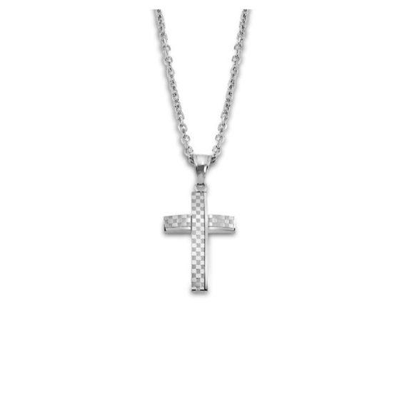 Σταυρός Lotus Style Ατσάλι Καρό LS2105 1 1 Jewelor