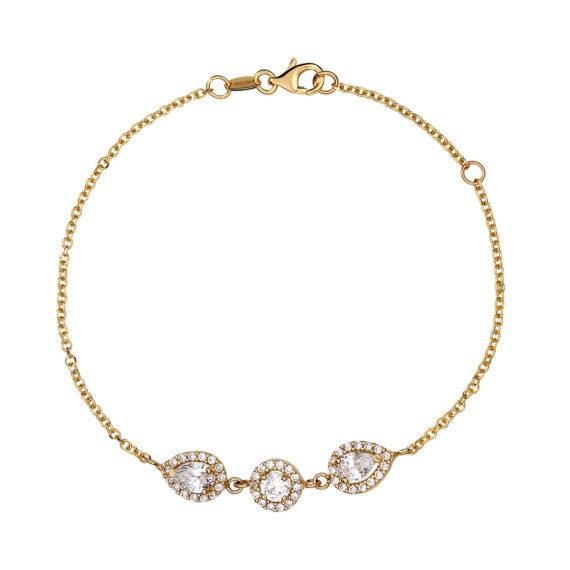 Βραχιόλι Αλυσίδα Χρυσό Με Λευκό Ζιργκόν 14Κ 003300 Jewelor
