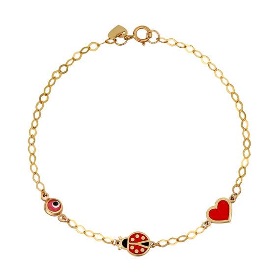 Βραχιόλι Αλυσίδα Χρυσό Με Ματάκι, Πασχαλίτσα Και Καρδούλα 14Κ 003302 Jewelor