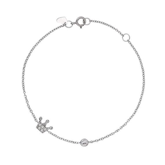 Βραχιόλι Αλυσίδα Με Κορώνα Λευκόχρυσο Με Ζιργκόν 14Κ 003285 Jewelor