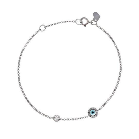 Βραχιόλι Αλυσίδα Με Ματάκι Λευκόχρυσο Με Σμάλτο Και Ζιργκόν 14Κ 003284 Jewelor
