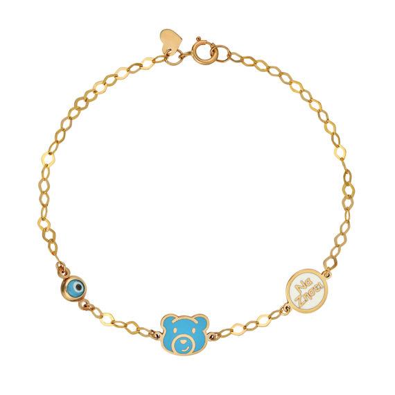 Βραχιόλι Αρκουδάκι & Ευχή Χρυσό Για Γέννηση Βάφτιση Με Σμάλτο 14Κ 003277 Jewelor