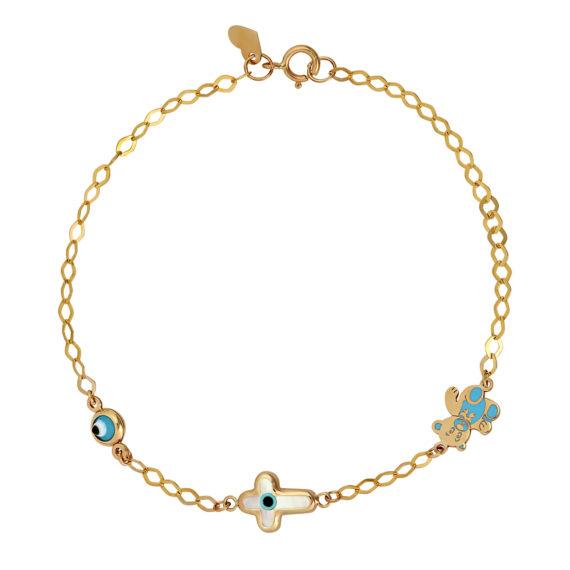 Βραχιόλι Αρκουδάκι & Σταυρουδάκι Χρυσό Για Γέννηση Βάφτιση Με Σμάλτο 14Κ 003278 Jewelor