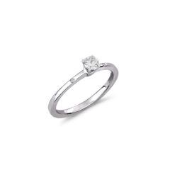 Μονόπετρο Δαχτυλίδι Λευκόχρυσο Με Διαμάντι Μπριγιάν Και Ζιργκόν 18K