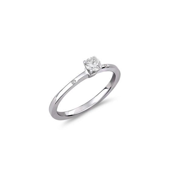 Μονόπετρο Λευκόχρυσο Με Διαμάντι Και Ζιργκόν 18 K 003286 Jewelor