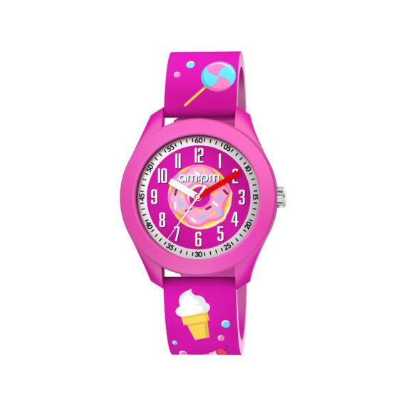 AM PM Candy Fuchsia Rubber Strap Kids' Watch PM203 K675 Jewelor