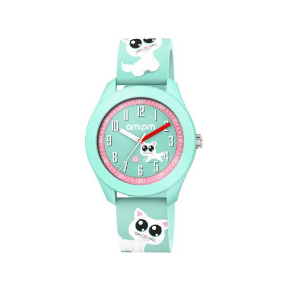 AM PM Cat Green Rubber Strap Kids' Watch PM203 K666 Jewelor