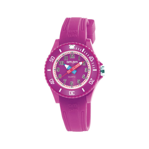 AM PM Ciel Blue Rubber Strap Kids' Watch PM192 K514 Jewelor