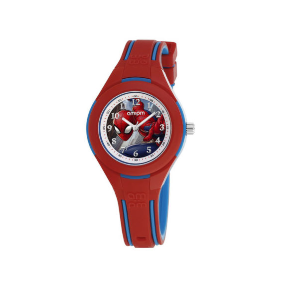 AM PM Marvel Spiderman Red Rubber Strap Kids' Watch ΜP199 K641 Jewelor