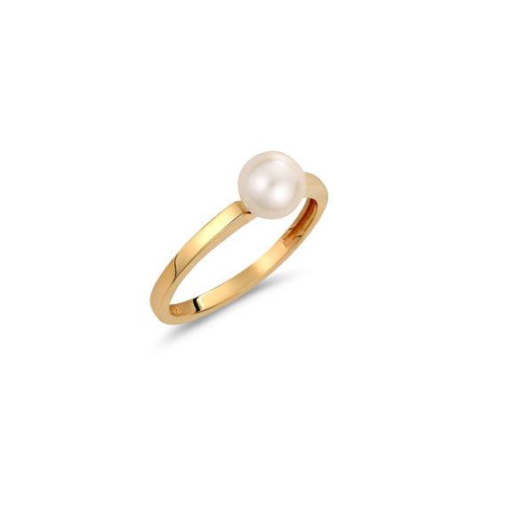 Μονόπετρο Δαχτυλίδι Χρυσό Με Μαργαριτάρι 14K 003337 Jewelor