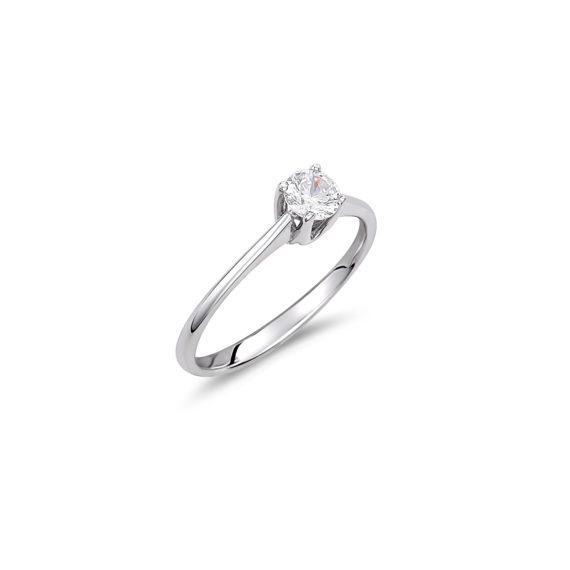 Μονόπετρο Δαχτυλίδι Λευκόχρυσο Με Ζιργκόν 14K 003321 Jewelor