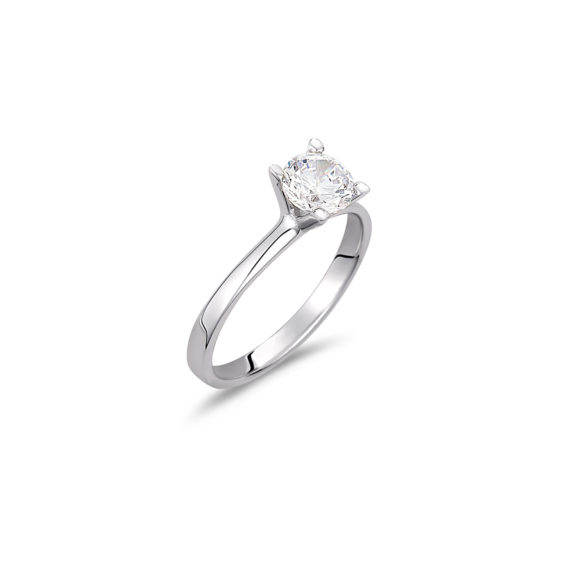 Μονόπετρο Δαχτυλίδι Λευκόχρυσο Με Ζιργκόν 14K 003324 Jewelor