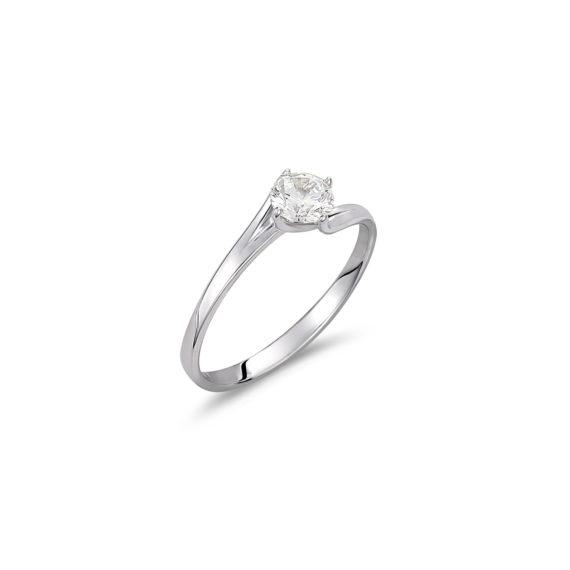 Μονόπετρο Δαχτυλίδι Λευκόχρυσο Με Ζιργκόν 14K 003325 Jewelor