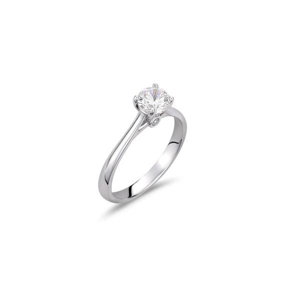 Μονόπετρο Δαχτυλίδι Λευκόχρυσο Με Ζιργκόν 14K 003326 Jewelor