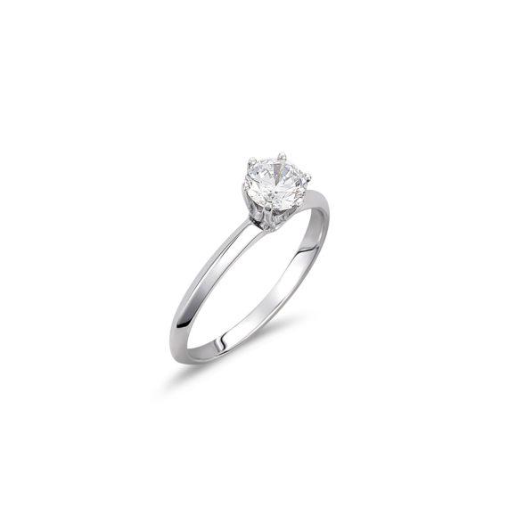 Μονόπετρο Δαχτυλίδι Λευκόχρυσο Με Ζιργκόν 14K 003327 Jewelor
