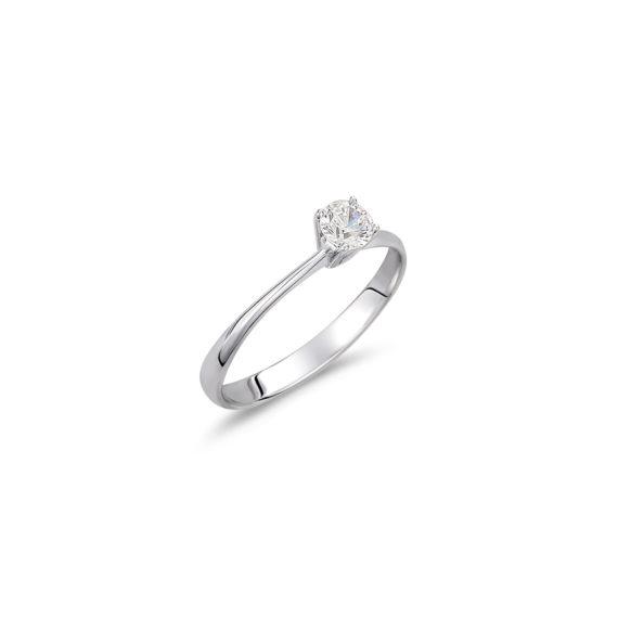 Μονόπετρο Δαχτυλίδι Λευκόχρυσο Με Ζιργκόν 14K 003329 Jewelor