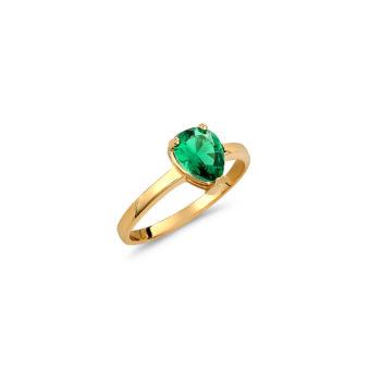 Μονόπετρο Δαχτυλίδι Δάκρυ Χρυσό Με Συνθετικό Σμαράγδι 14K