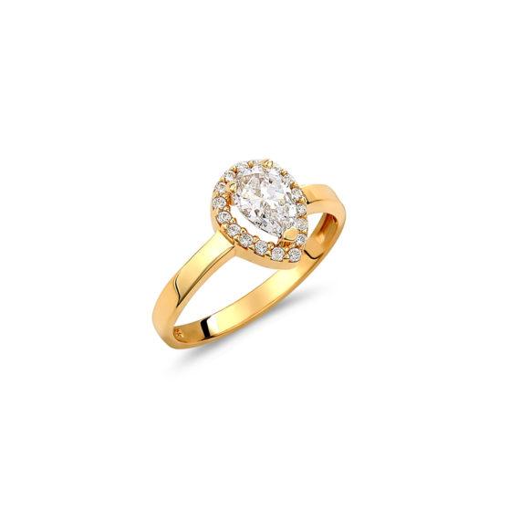 Μονόπετρο Δαχτυλίδι Ροζέτα Δάκρυ Χρυσό Με Ζιργκόν 14K 003317 Jewelor