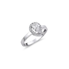 Μονόπετρο Δαχτυλίδι Ροζέτα-Δάκρυ Λευκόχρυσο Με Ζιργκόν 14K
