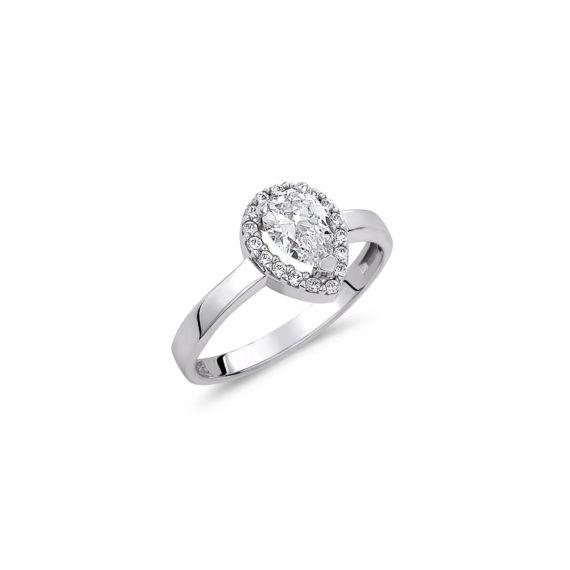 Μονόπετρο Δαχτυλίδι Ροζέτα Δάκρυ Λευκόχρυσο Με Ζιργκόν 14K 003316 Jewelor