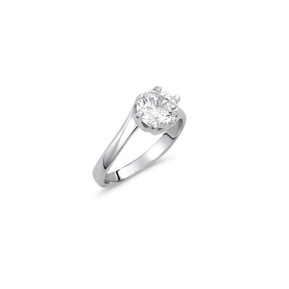 Μοντέρνο Μονόπετρο Δαχτυλίδι Λευκόχρυσο Με Ζιργκόν 14K 003318 Jewelor