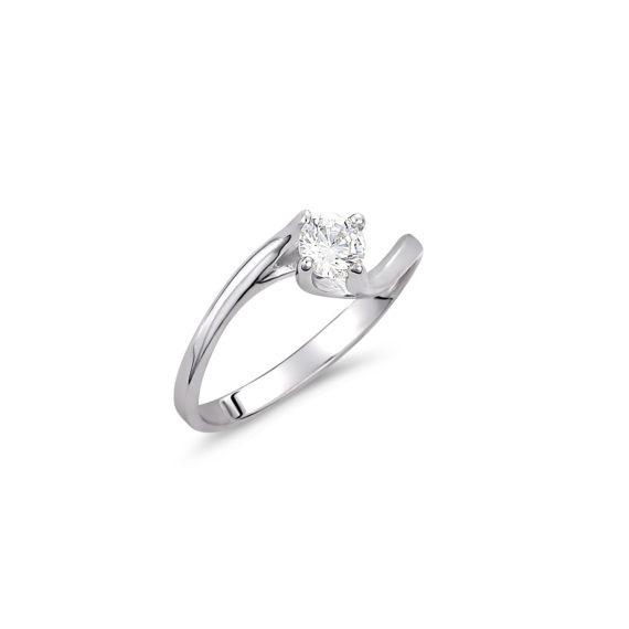 Μοντέρνο Μονόπετρο Δαχτυλίδι Λευκόχρυσο Με Ζιργκόν 14K 003328 Jewelor