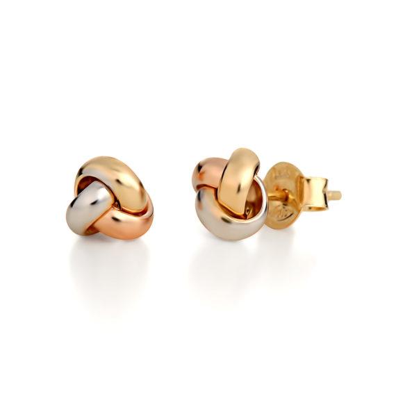Σκουλαρίκια Τρίχρωμος Χρυσός «Κόμπος» 14Κ 003334 Jewelor